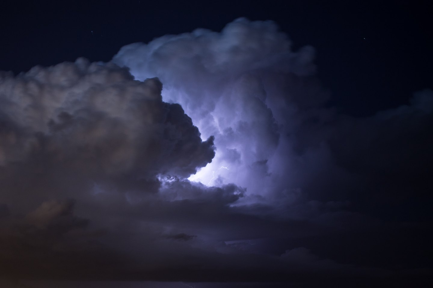 Lightning storm in the clouds