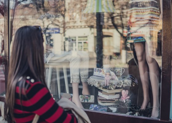 Girl window shopping
