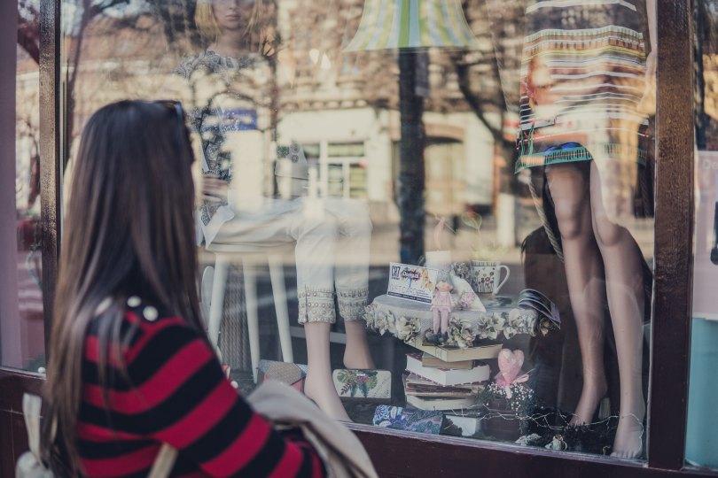 Girl window shopping