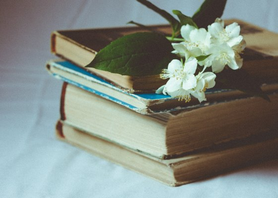 Old books and flowers