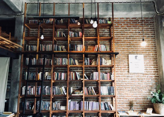 Bookshelf with brick wall and hanging lights