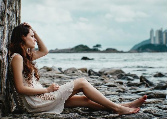 Woman sitting all alone