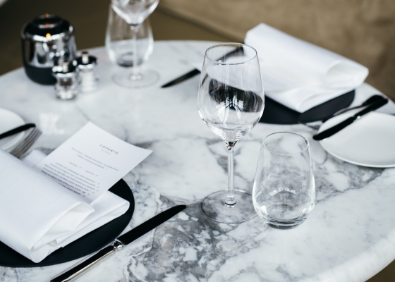 Place settings on a marble table