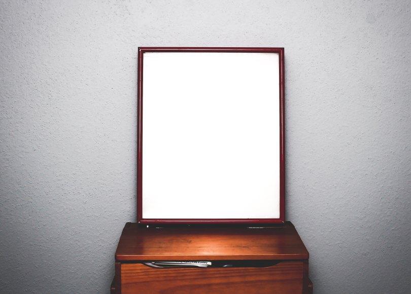 Mirror on a desk